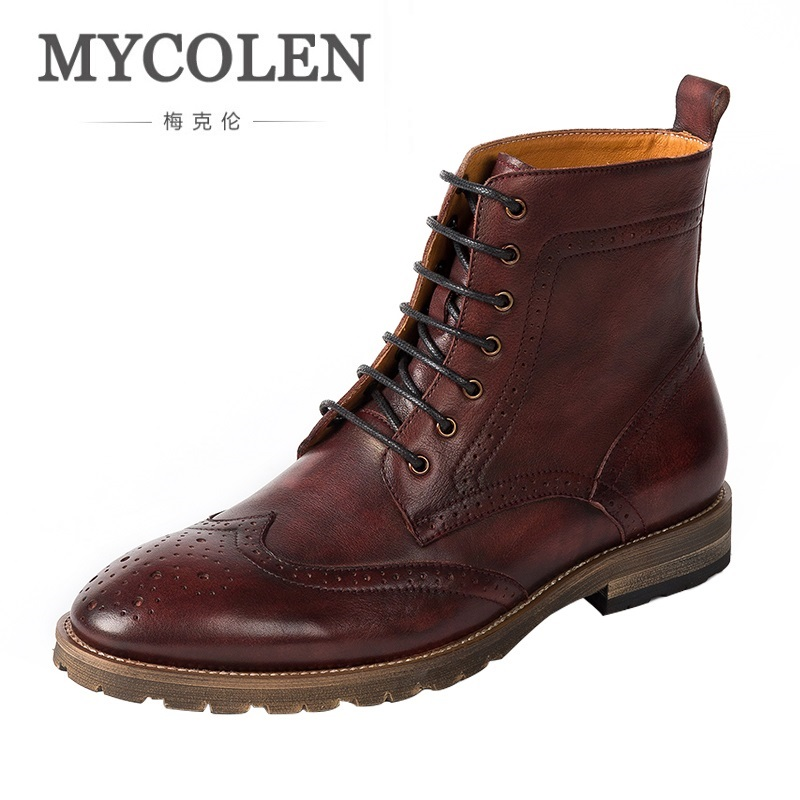 MYCOLEN Fashion Ankle Boots Autumn Motorcycle Martin Boots Genuine Leather Men Shoes Mens Winter Footwear Motorlaarzen Mannen