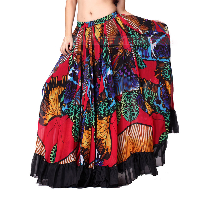 720 Degrees Tribal Belly Dance Performance Gypsy Clothes Butterfly-printed Flamenco Wear Women Sheer Chiffon Skirts