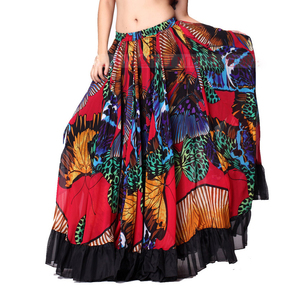 Image 4 - 720 Degrees Tribal Belly Dance Performance Gypsy Clothes Butterfly printed Flamenco Wear Women Sheer Chiffon Skirts