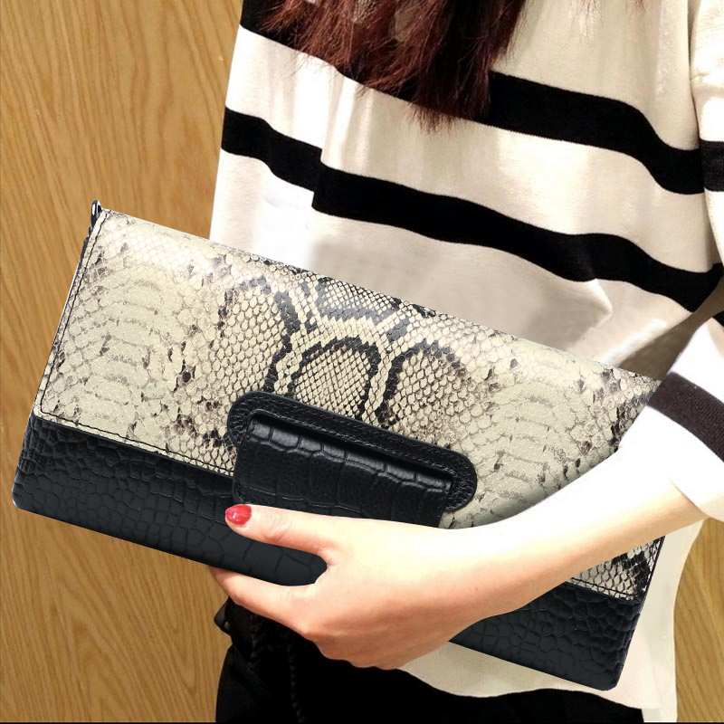 Cowhide Hand Bag Purse Serpentine Genuine Leather Women Long Wallet Evening Clutches Envelope Shoulder Wristlets Hand Clutch Bag vintage serpentine genuine leather woman clutches evening bag crossbody chain shoulder bag handbag clutch wallet lady long purse