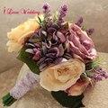2017 Новый Дизайн Фиолетовый Свадебный Букет Сочные Растения для Невесты Искусственный Свадебные Букеты Женщины Свадебные Аксессуары