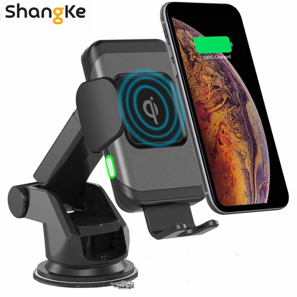 Wireless Car Charger 10W Auto Clamp 2 in 1 Qi Fast Charger