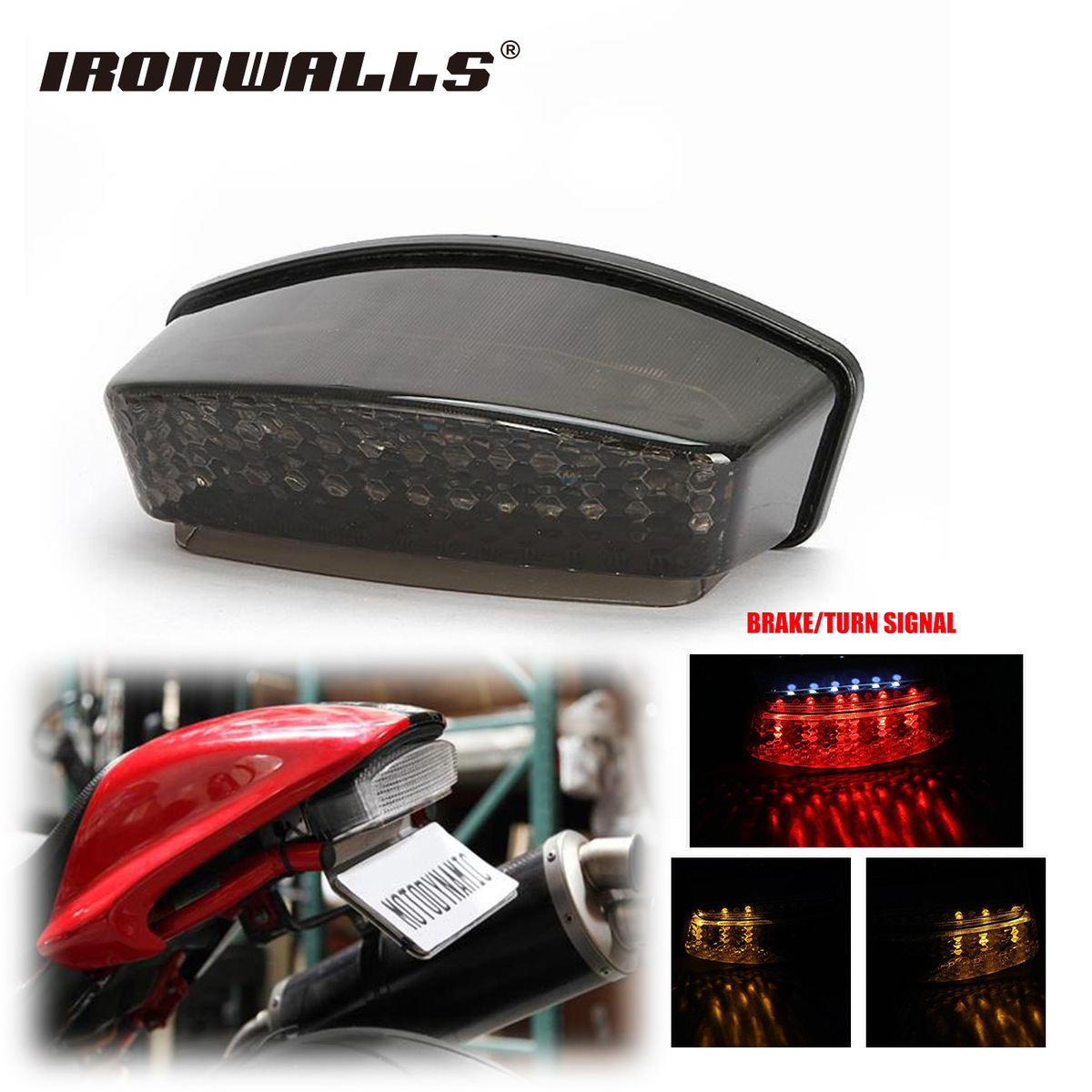 Ironwalls Motorcycle LED Tail Light Tailight Running Brake Turn Signal 12V For Ducati Monster 1000 695 620 IE 696 S4R S2R Dark 22mm 7 8 motorcycle aluminum handlebar grips bar ends sliders for ducati monster 600 dark monster 620 monster 696 monster 750
