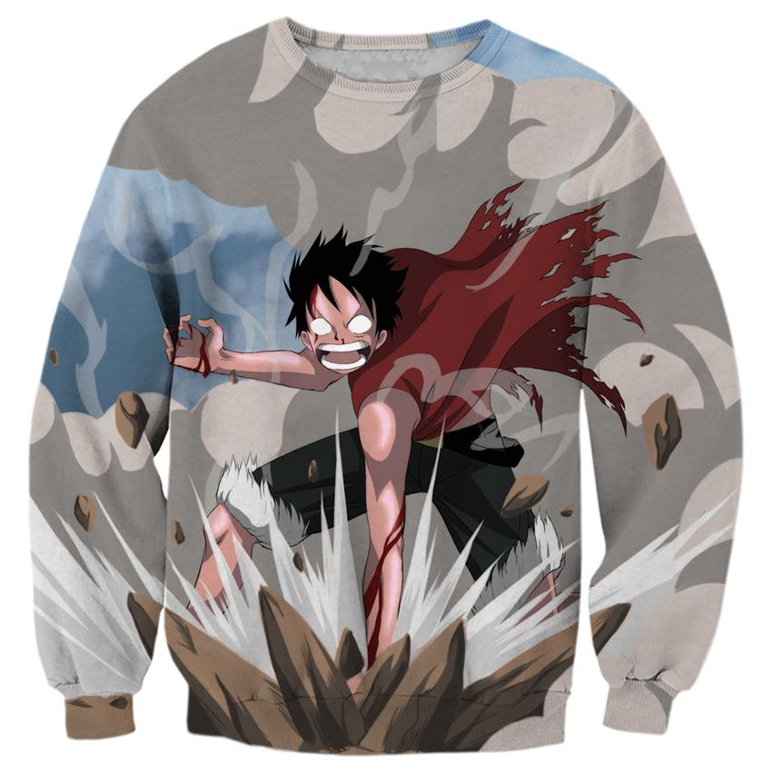 2018 NEW FASHION MEN WOMEN One Piece Angry Luffy Cool 3D Print Sweat shirts Pullovers Tracksuit Streetwear Loose Thin Hoody Tops