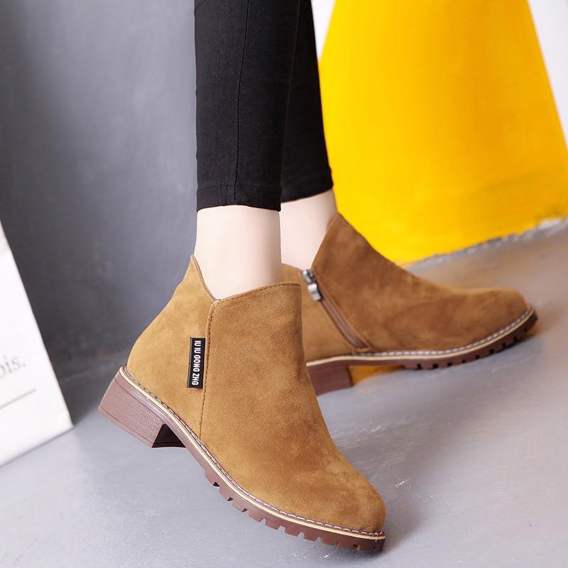 Women Nubuck Leather Short Ankle Boots Winter Autumn Warm Martin Zipper High-top Platform