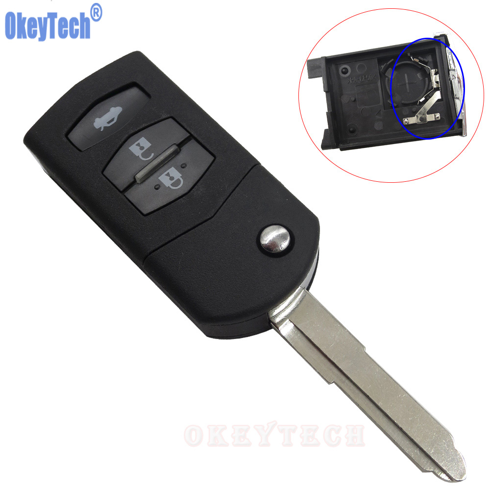 OkeyTech Neue 3 Buttons Klappfernschlag-key Flip Key Hülle Fob Smart Auto Key Gehäuse Abdeckung für Mazda 2 3 5 6 RX8 MX5 Ungeschnittenes blatt