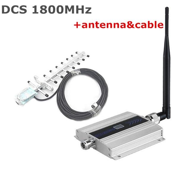 Mini LCD DCS signal booster 1800 mhz DCS 4G répéteur de signal, signal de téléphone cellulaire booster amplificateur avec 13dbi 9 unités yagi antenne