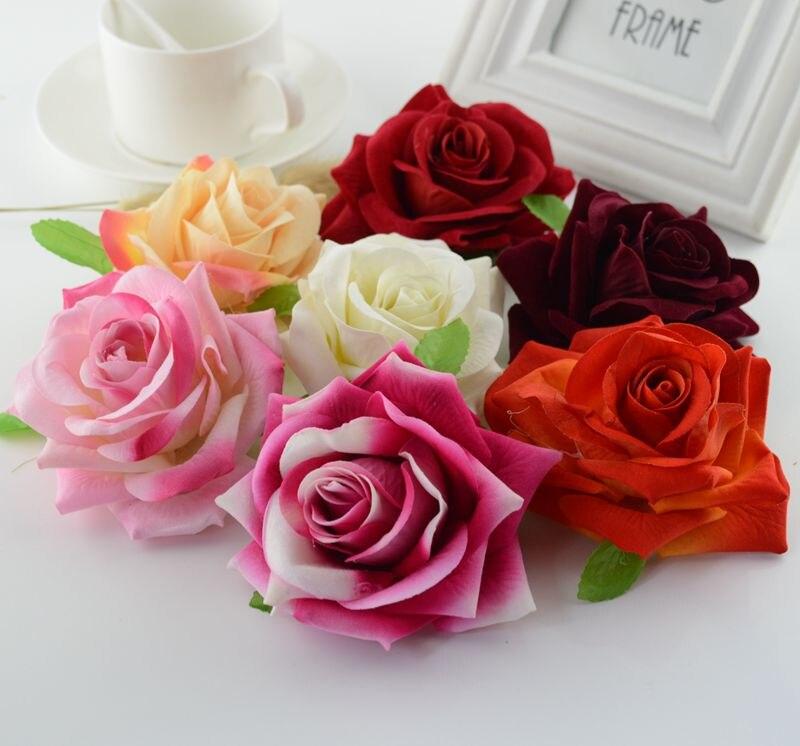 Calidad de seda rosas cabeza corona de flores artificiales para el hogar artesan