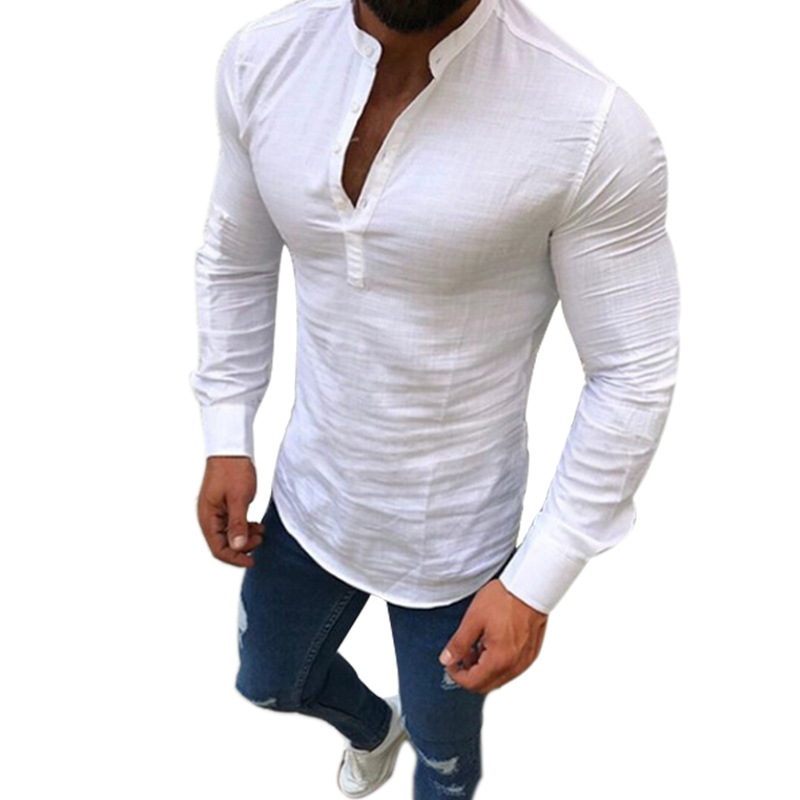 5 Colors New Autumn Men Casual Linen Shirt Pure Color Stand Collar Long Sleeve Quick Dry Social Gentleman Normal Fitness Shirts in Casual Shirts from Men 39 s Clothing