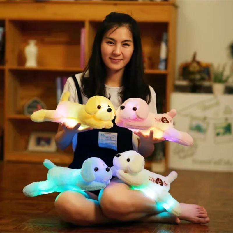 35cm Luminous Dog Plush Doll Colorful LED Light Glowing Dogs Kids Toy Children Girls Gift Kawaii Stuffed Animal Toy 1pcs 22cm fluffy plush toys white eyebrows cute dog doll sucker pendant super soft dogs plush toy boy girl children gift