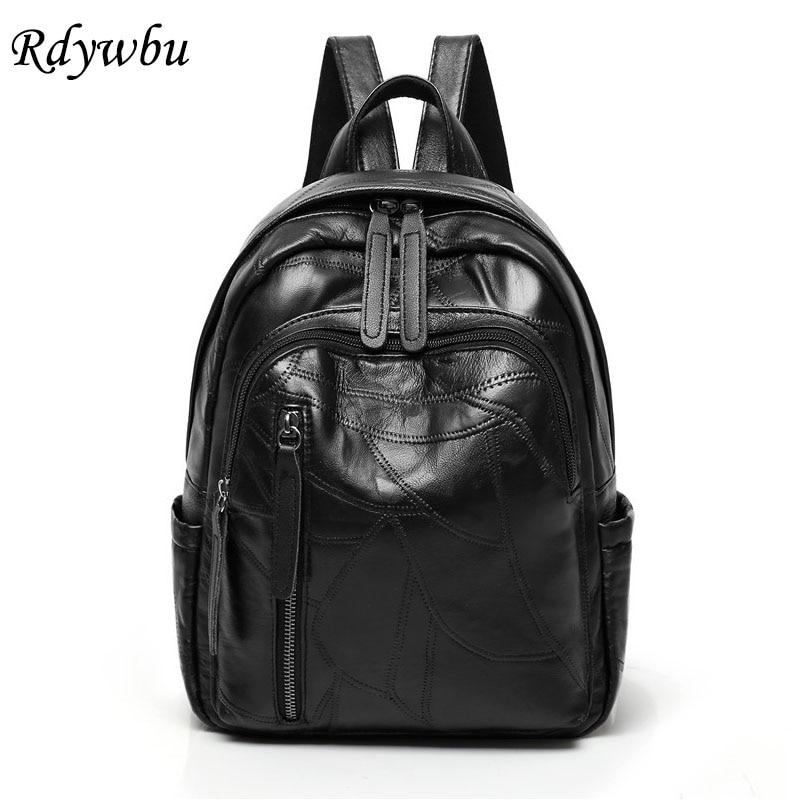 Rdywbu Genuine Leather Women Backpack Luxury Girls New Fashion Sheepskin Travel Bag High Quality Pockets Patchwork Rucksack B257