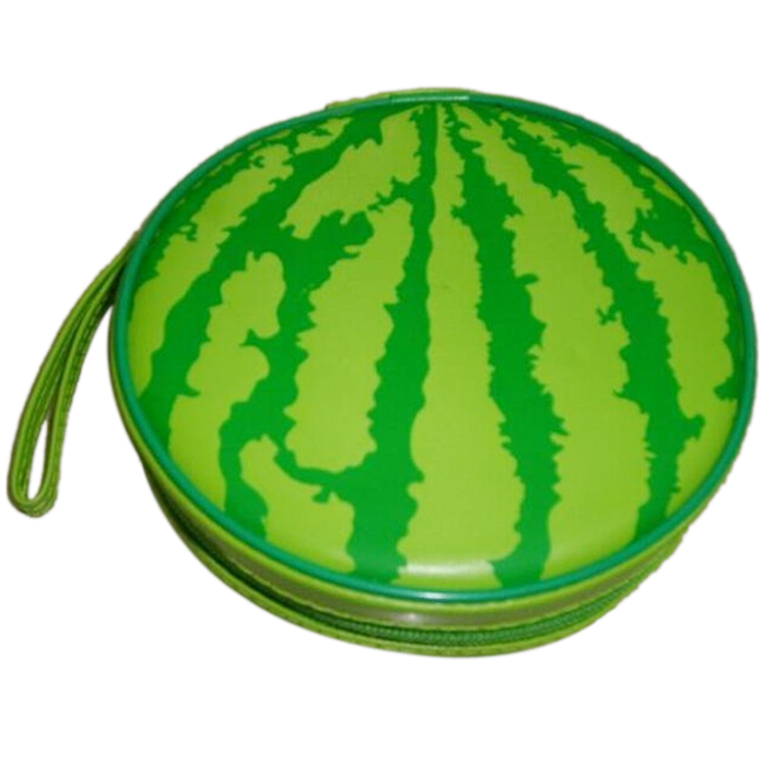 Boutique Green Watermelon Pattern 24 Capacity CD DVD Round Wallet Case Holder