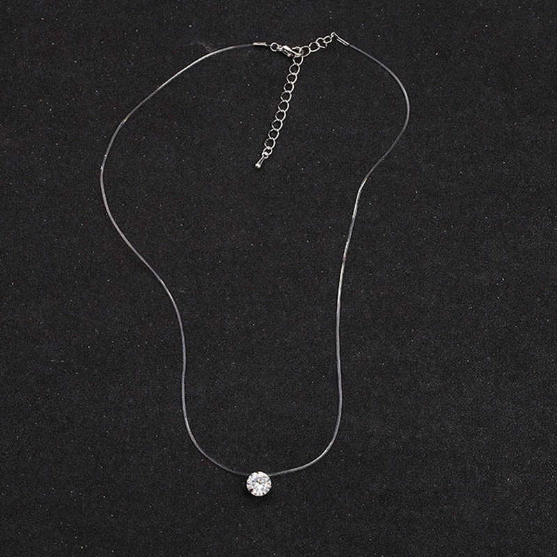 2019 New 10 colors Female Transparent Fishing Line Necklace Silver Invisible Chain Necklace Women Rhinestone Choker Necklace