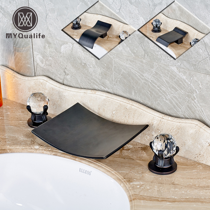 Oil Rubbed Bronze Bathroom Crystal Dual Handle Basin Sink Faucet Deck MountWidespread Waterfall 3 Holes Mixer Taps
