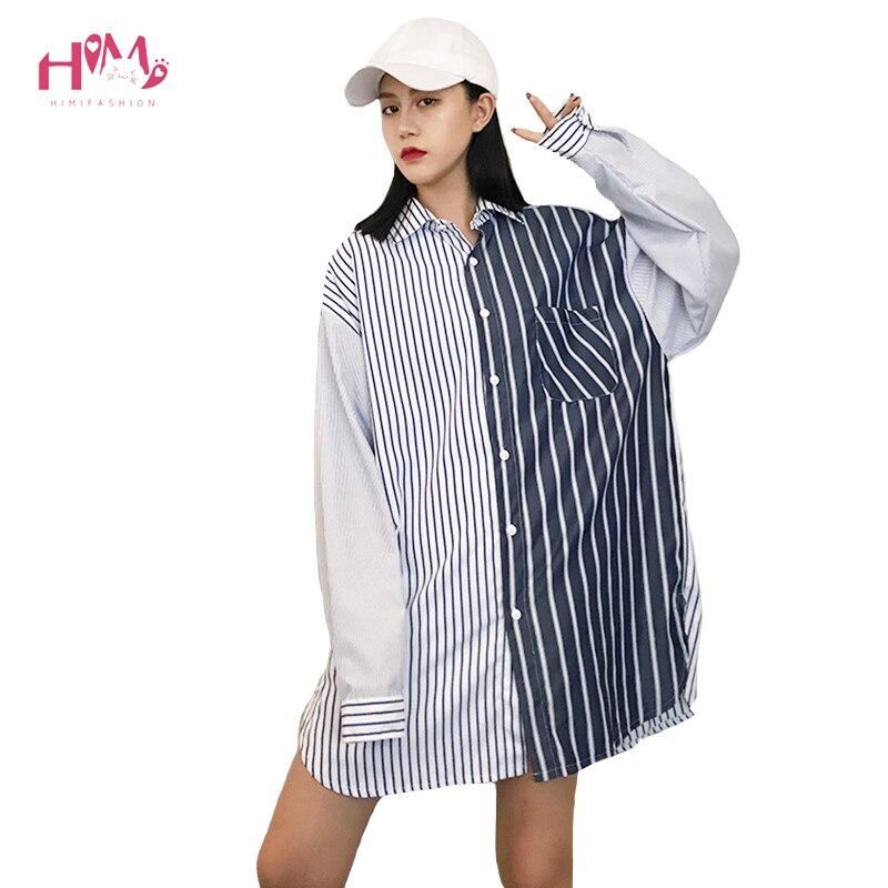 00862a3c62dfc0 2018 Spring Street Moda damska Bluzka Jesień Harajuku Długim Rękawem Stripe  Łączenie Nieregularne Podstawowe Koszule Luźne