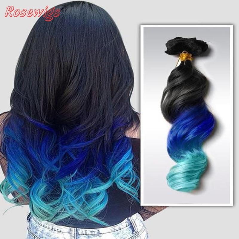 1BBlueGreen 2Tones Virgin Hair Brazillian Loose Wavy 6A