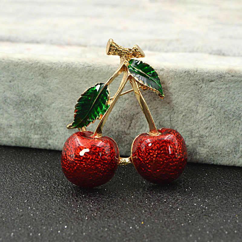 Cindy Xiang 2 Warna Pilih Warna Merah Cherry Bros untuk Wanita Buah Bros Pin Musim Panas Perhiasan Gaya Baru 2018 hadiah Yang Baik