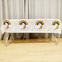 108*180cm Unicorn party supplies cartoon girls birthday disposable decoration tablecover tablecloth set