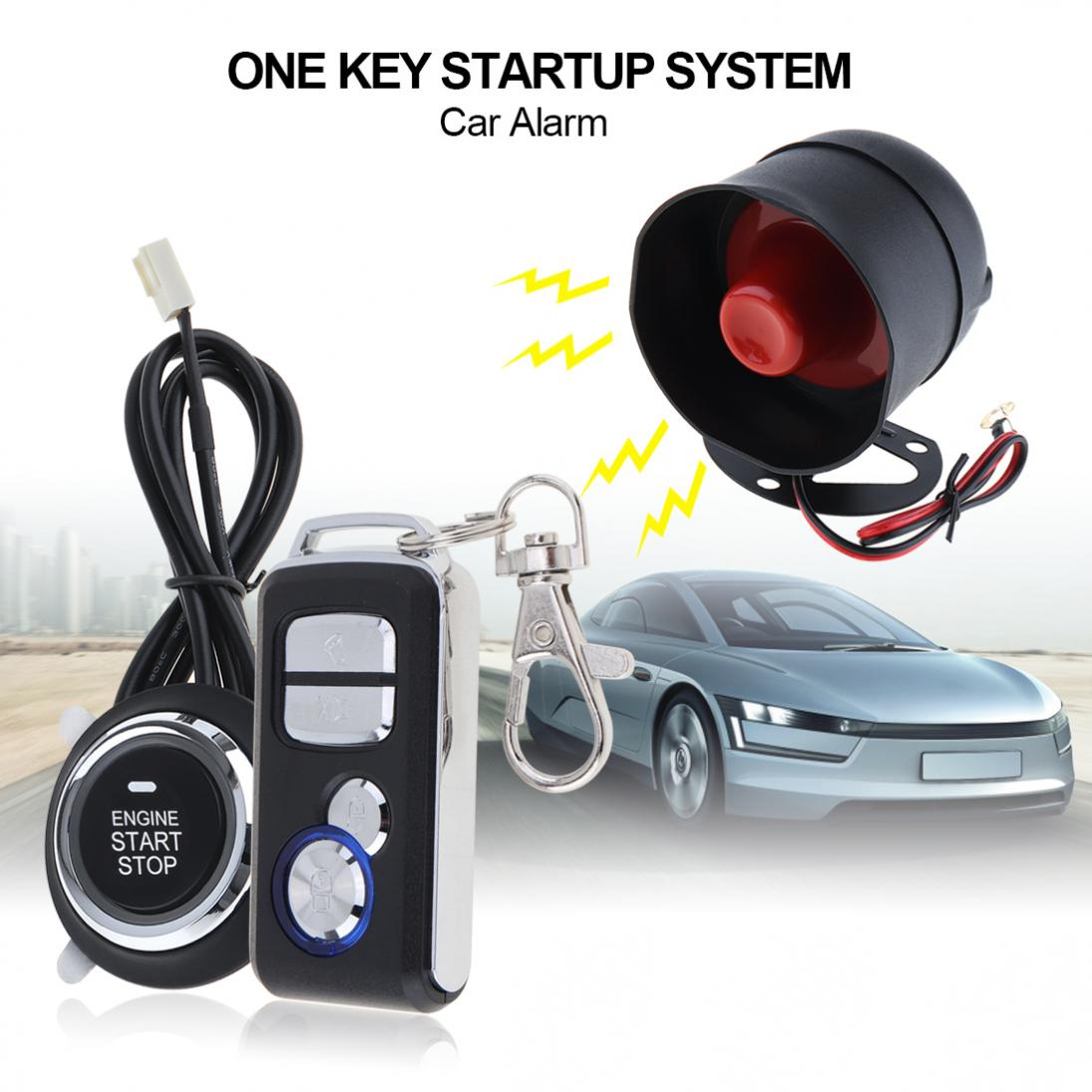 12V Car Alarm System Remote Start Stop Engine System with Auto Central Lock and Keyless Entry 5A with Key 1 smart haa flip key pke car alarm system push start remote start stop engine auto central door lock with shock sensor