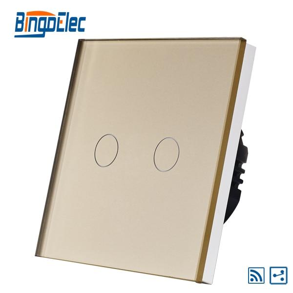 EU/UK  2gang 2way remote smart light switch,433.92MHZ,gold glass panel switch,AC110-240V,Hot Sale suck uk