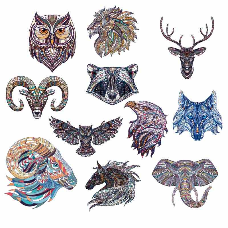 Ethnic Animals Heat Transfer Clothing Badges Appliques Tiger Deer Owl Dragon Handicraft DIY Patches for Clothes Accessories