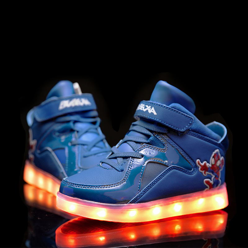 CSXD Toddler Boys Gilrs Winter Glowing Shoes Spiderman LED Light Hight Boots USB Charger Red Luminous Shoes 2017 BBX Autumn New