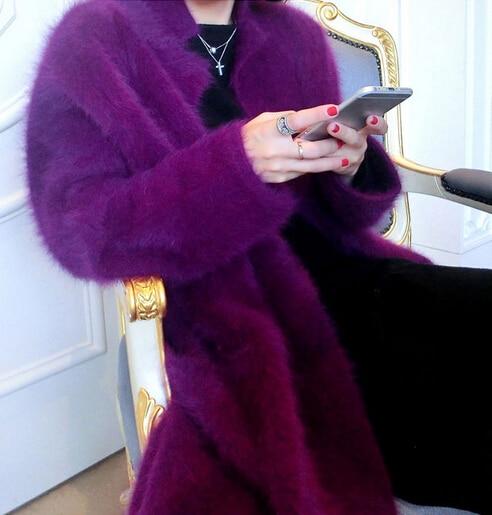 Luksusowe długa norka kaszmirowy płaszcz kobiety moda prawdziwe Mink Cashmere długa kurtka hurt detal klienta duży rozmiar i kolor TBFP830 w Swetry rozpinane od Odzież damska na  Grupa 1