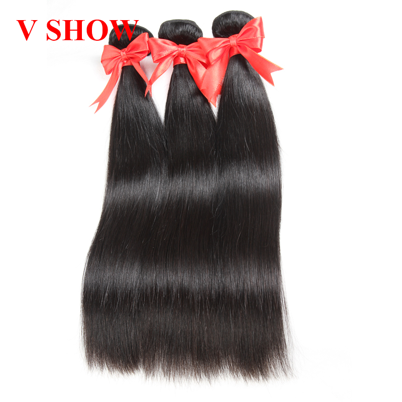 3 Bundle Brazilian Straight Human Hair Extension Remy Human Hair - Menneskehår (sort)
