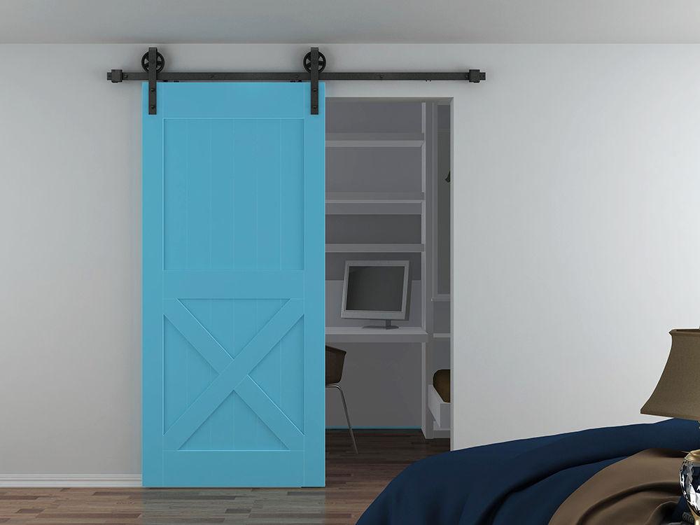 DIYHD 5FT-8FT Two Side Soft Close/Soft Open Sliding Barn Door Hardware Big Spoke Wheel Sliding Wood Door Track Kit