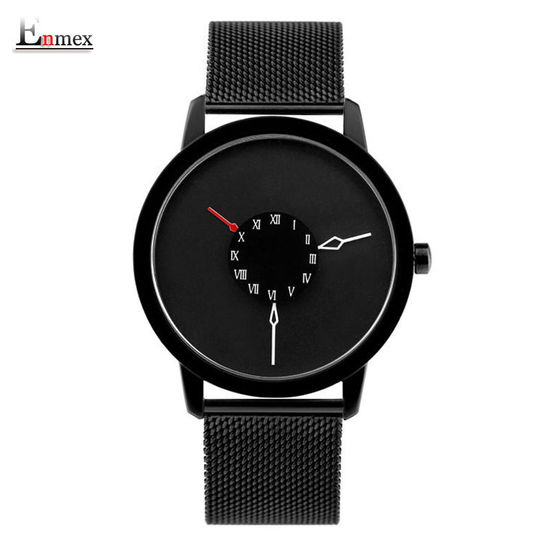 2017 men gift Enmex brief design stainles steel strap creative Upside down hand unique design for young fashion quartz watches 2017 new gift enmex hit color steel frabic strap creative dial changing patterns simple fashion for young peoples quartz watches