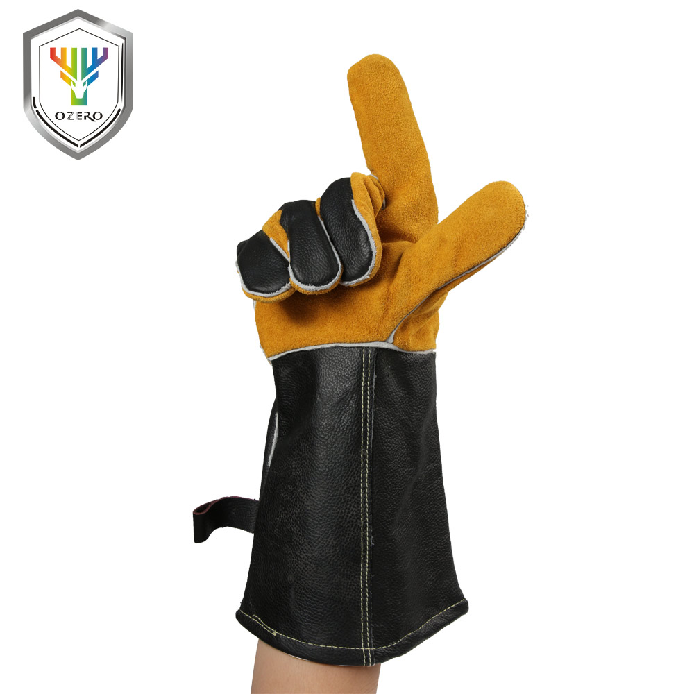 OZERO Work Gloves Cowhide Leather Barbecue Grill Hearth For Oven Kitchen Working Welding Welding Gloves With Long Sleeve 1101 welding welders work soft cowhide