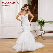Sexy Sweetheart Beading Wedding Dress 2017 Fashion Court Train Mermaid Vestido De Noiva Custom Made Lace Bridal Gowns China