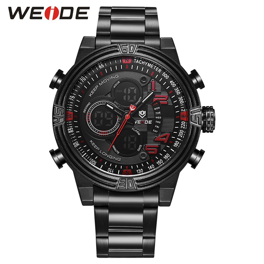 WEIDE Men Sports Red Quartz Repeater Watches Analog LCD Digital Date Day Alarm Clock Black Stainless Steel Military Wristwatch weide 2 time zones men sports date lcd digital analog display repeater stopwatch quartz back light movement military watches men