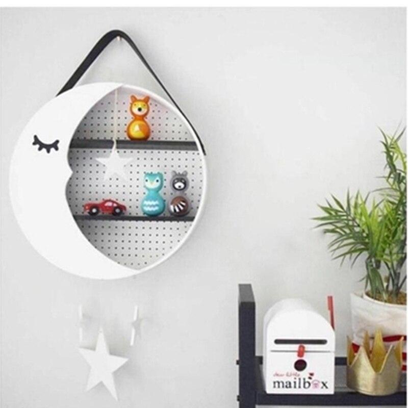 Créatif accrocher Rack enfants chambre décor lune stockage étagère mignon mur cintre en bois jouet Figurines affichage stockage supports Arts cadeau