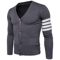 Knitted Cardigan Sweater For Men Casual V Neck Single Breasted Baisc Knit Jacket Outerwear Coat Sleeve