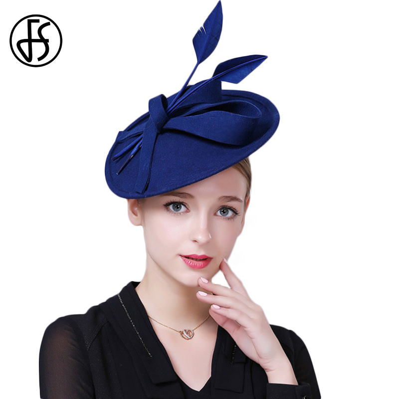 FS Fascinators Wedding Hats For Women Elegant Black Blue Lady Female Wool Felt Pillbox Hat Vintage Church Fedoras Royal Cap