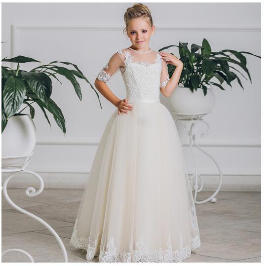 Girl's Long Formal Dress 2017 Shortsleeve Girls Princess Dresses Kids Lace Gauze Pearl Party Gowns Children's Wedding Dresses long criss cross open back formal party dress