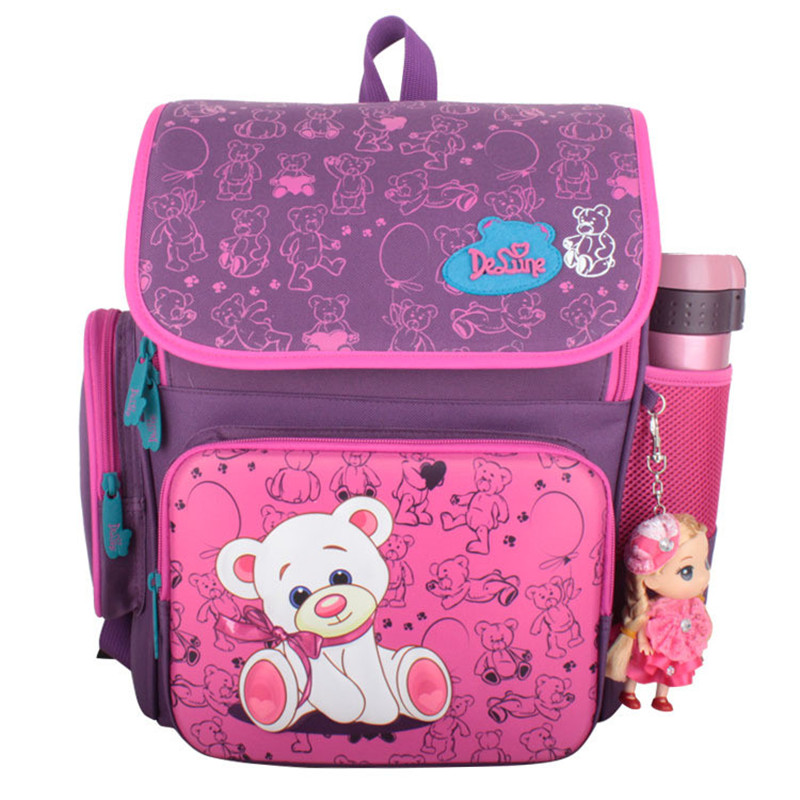 ФОТО Russian style 5-8 years old students Kids cartoon animal schoolbag Children School backpack bags for Girls