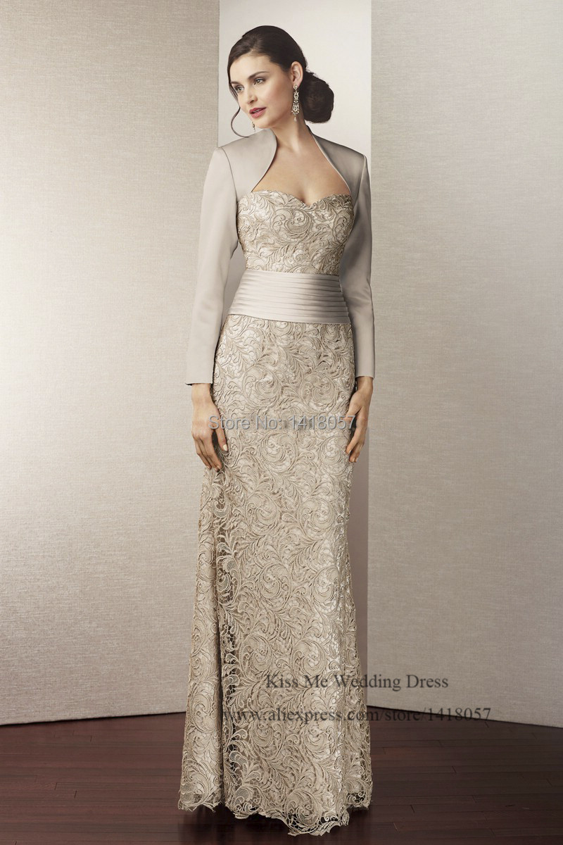 2015 New Arrival Silver Mother of the Bride Dresses with Jacket Lace Long Evening Dress Vestido de Renda Groom Mother Pant Suits 1