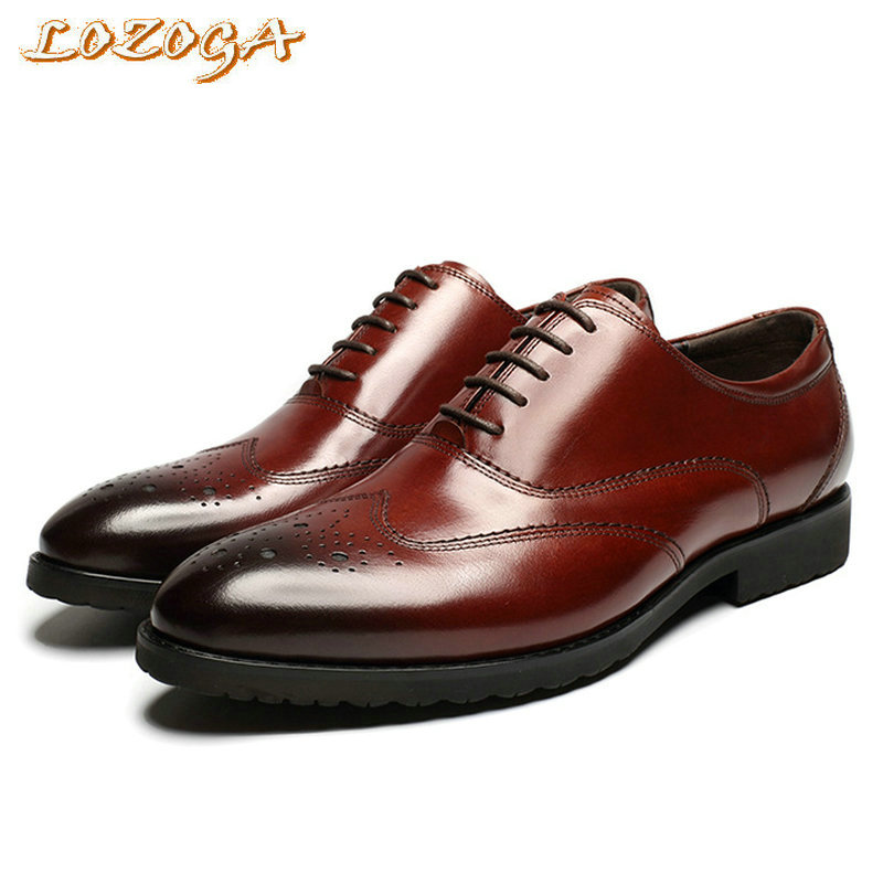 2017 New Men Flats Shoes Formal Shoes Genuine Leather Pointed Toe Italian Luxury Dress Shoes Mens Brand Brogue Shoes Lace-Up fashion formal mens dress shoes pointed toe buckle genuine leather shoes luxury brand men s wedding flats office business shoes