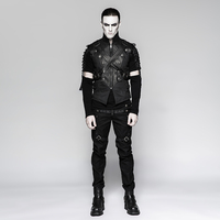 Steampunk Men's Black Waist Coat Zipper Cross Ties Metal Buttons Vest Jacket Male's Fashion Shirts Dressing