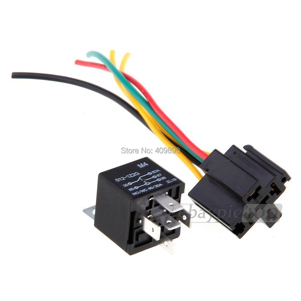 medium resolution of 100pcs lot 12v volt spdt relay wire socket car automotive alarm 40