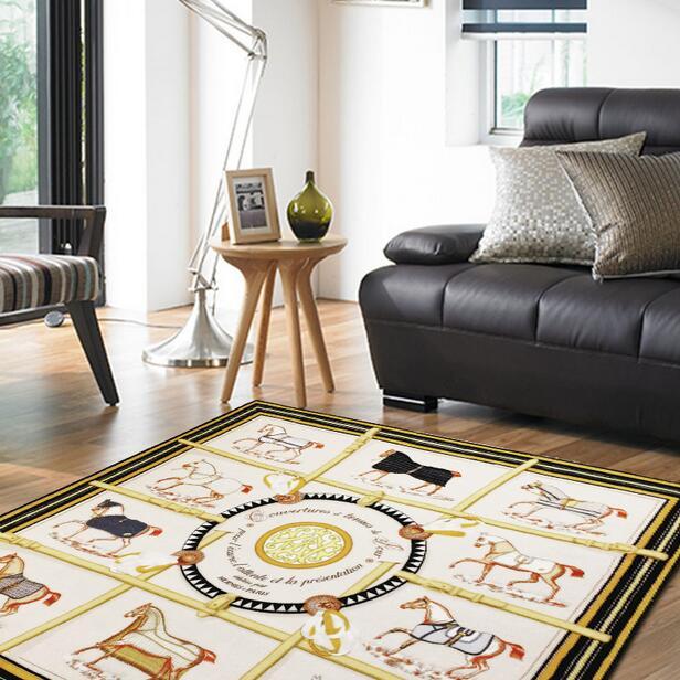 2cm Dicken Amerikanischen Quadrat Schal muster gedruckt Teppich Für Wohnzimmer Küche matte Flur Saugfähigen Nicht slip Teppich wohnkultur-in Lumpen aus Heim und Garten bei  Gruppe 2