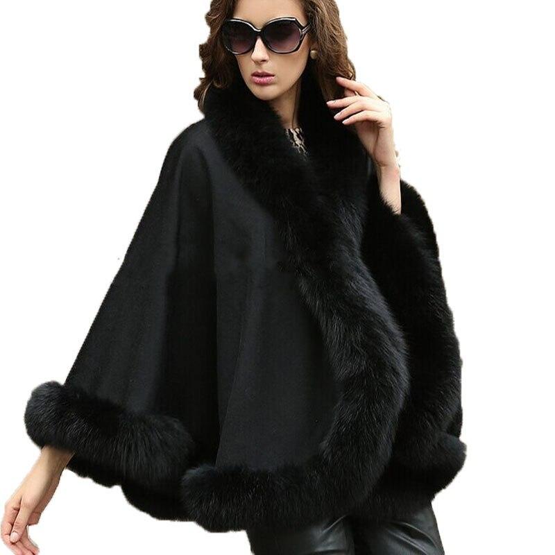 Wraps dámský originální šátek skutečný kašmír pravý liška kožich pláště ženy zimní teplý pončo / mys ČERNÝ