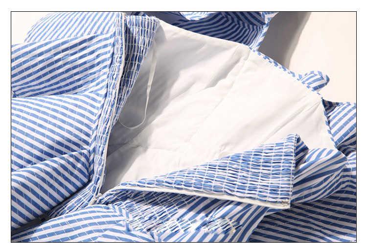 [Twotwinstyle] пикантные с открытыми плечами полосатая блуза рубашка Лето 2017 г. рюшами Bodycon Для женщин Блузки для малышек без рукавов Топы корректирующие модные Костюмы