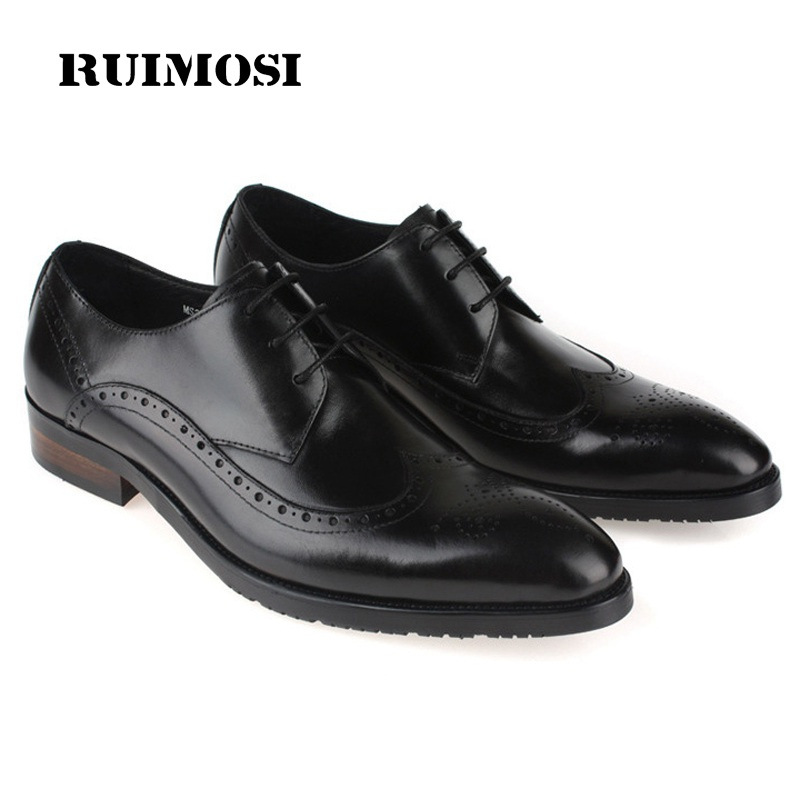 RUIMOSI British Style Brand Man Formal Dress Shoes Vintage Genuine Leather Brogue Oxfords Pointed Toe Men's Wing Tip Flats CE38