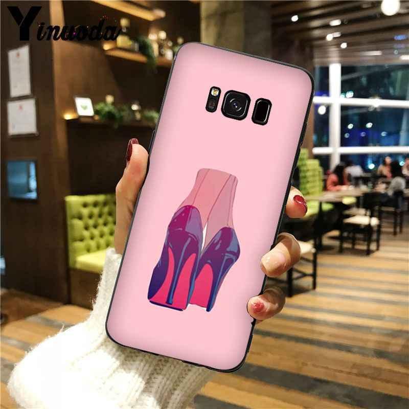 Yinuoda kırmızı yüksek topuk ayakkabı En Detaylı Popüler cep telefonu Kılıf Kapak Için GALAXY s5 s6 kenar s7 kenar s8 artı s9 artı