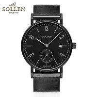 Montre Homme классический Для мужчин Повседневное Часы Топ Элитный бренд кварцевые часы Для мужчин наручные Нержавеющаясталь сетка ремень ульт