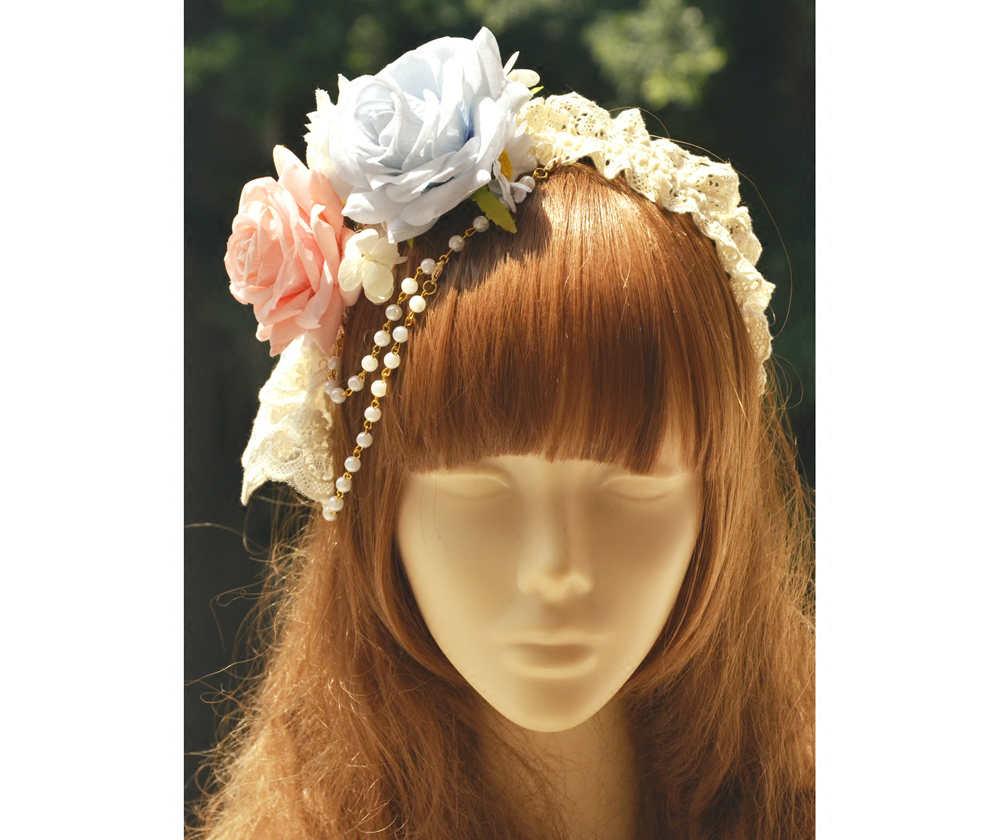 Princess sweet lolita Hairbands hoop fairy Sen gorgeous beads lace Flower Headband KC Lolita CLA live parts MHTSP021