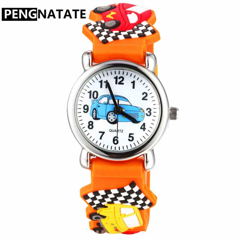 PENGNATATE Boys Watches Fashion Children Cartoon Clock Cute 3D Racer Strap Silicone Watch Kids Gift Girls Bracelet Wristwatches